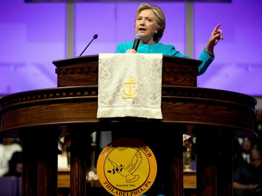 Democratic presidential candidate Hillary Clinton speaks at Mt Airy Church of God In Christ in Philadelphia, Sunday, Nov. 6, 2016.