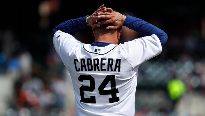The Detroit Tigers' Miguel Cabrera reacts to flying out against the Minnesota Twins in the fifth inning Thursday, Sept. 15, 2016, at Comerica Park in Detroit.