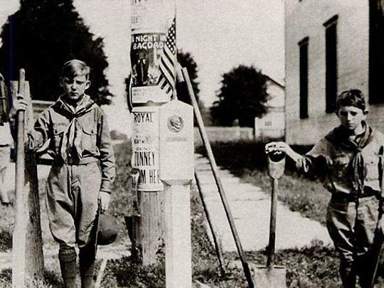 Although no markers are known to remain in Delaware, the Lincoln Highway was marked 100 years ago with official signs as well as informal ones like this one created by Pennsylvania Boy Scouts.