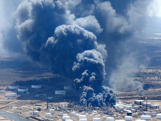 The Husky Energy refinery burns as seen in this aerial