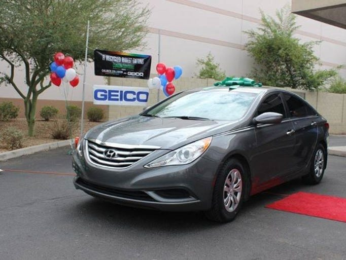 The Recycled Rides Program, a cause headed by the National Auto Body Council, worked with Caliber Collisions in Tempe to provide the Garcia family with a new vehicle.