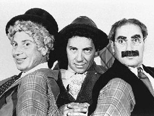 """The Marx Brothers, Harpo, Chico and Groucho, will appear on the screen of the Towne Cinema in Watertown Sept. 28. The Watertown Players will sponsor a free showing of the classic comedy """"A Night at the Opera"""" as part of their September to Remember fundraising drive."""