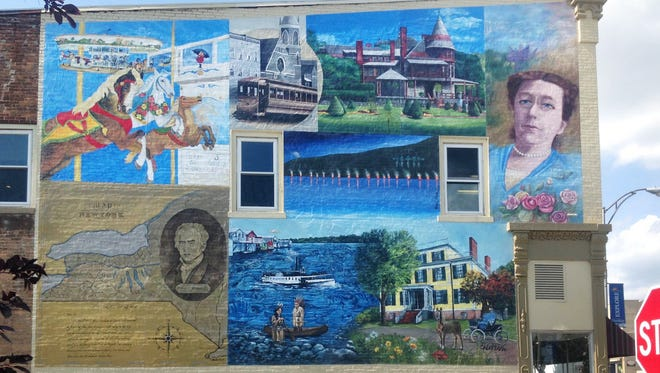 The Step Back in Time mural by Amy Colburn and other artists.