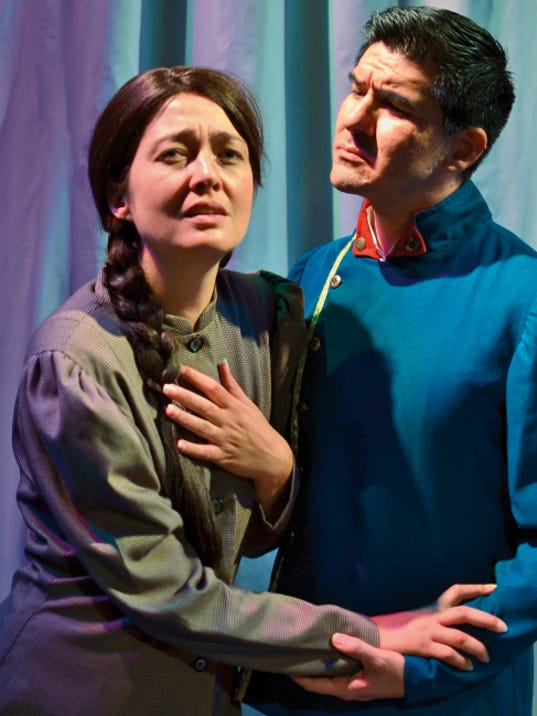 "Megan McQueen and Isaac Quiroga star as Fosca and Georgia in  Scaffording Theatre Company's production of Stephen Sondheim's ""Passion."" Perfomances will be today, Saturday and Sunday at the Rio Grande Theatre."