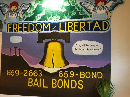 Sign inside the office of Freedom Libertad Bail Bond