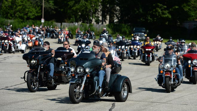 Bikers participate in the 2020 Patriot Tour, a 110-day, 14,500-mile motorcycle tour that raises funds for disabled veterans. The bikers departed from Erie Harley-Davidson in Millcreek Township.
