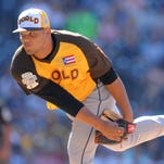 Jul 10, 2016; San Diego, CA, USA; World pitcher Joe Jimenez throws a pitch in the second inning during the All Star Game futures baseball game at PetCo Park.