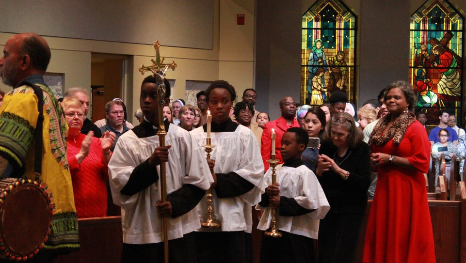The processional leaves as the Afrocentric Mass ends