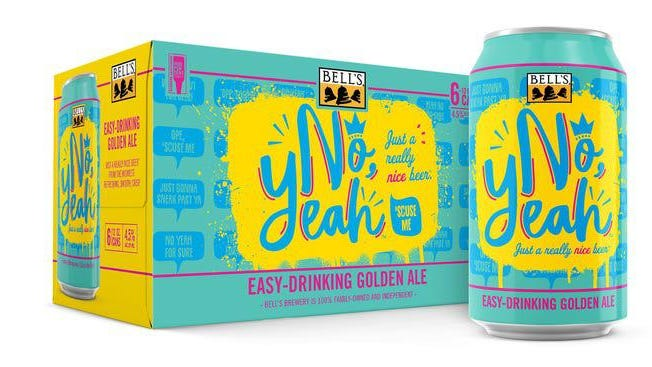 No, Yeah begins shipping in 6-pack cans Monday and will be available for purchase starting that day at Bell's Eccentric Cafe and General Store in Kalamazoo. Expect it on store shelves in Michigan, Wisconsin, Indiana, Ohio, Illinois and Minnesota.