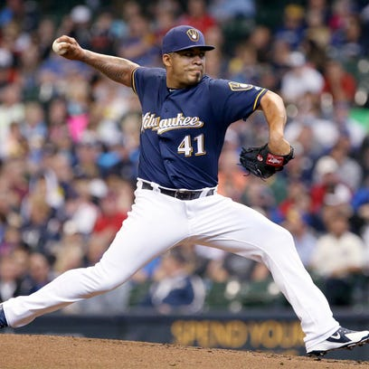 Milwaukee Brewers starting pitcher Junior Guerra.