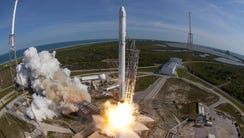 A SpaceX Falcon 9 rocket lifts off from Launch Complex