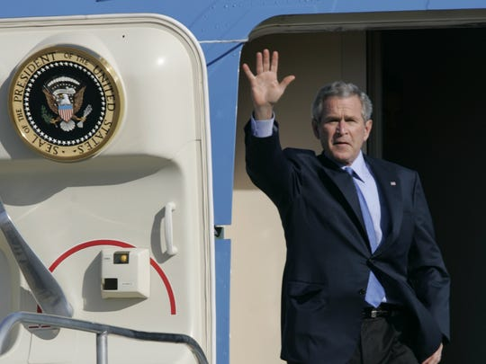 President George W. Bush arrives at Palm Springs International Airport on April 22, 2006.