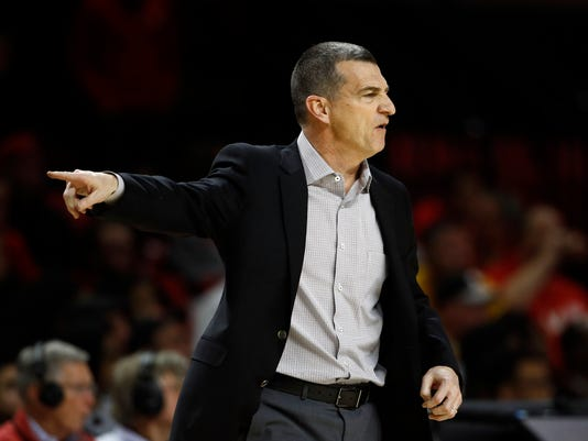 Maryland head coach Mark Turgeon directs his players in the second half of an NCAA college basketball game against Iowa in College Park, Md., Sunday, Jan. 7, 2018. (AP Photo/Patrick Semansky)