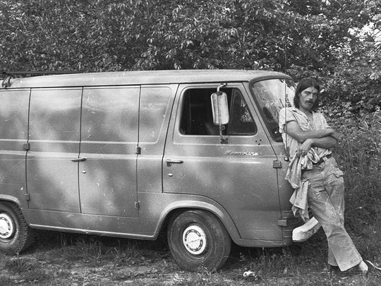 An early 1970s photo of Rutland native John Moriarty with his Ford van at the French Hill Commune in St. Albans. He was an occasional resident of the commune.