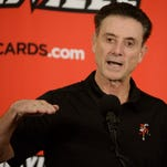 Louisville Cardinals head coach Rick Pitino talks to the media following a scrimmage at KFC YUM! Center on Oct. 3.