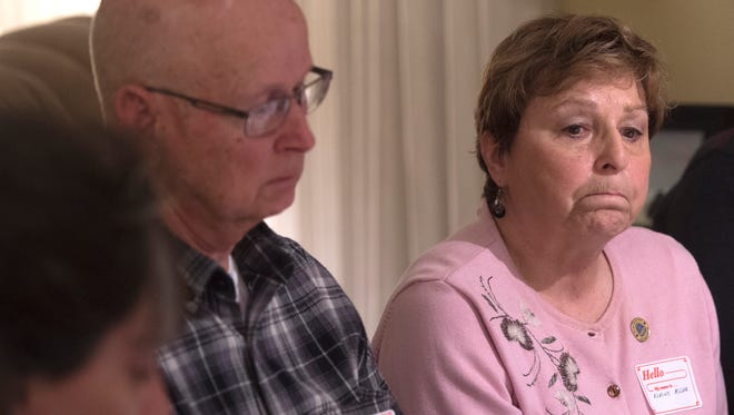 With her husband, Paul, next to her, Elaine Miller talks about losing their 45-year-old son, Rodney, who was the Loganville Fire Chief in 2013 when he was struck and killed in a hit-and-run crash while working an earlier DUI crash. The duo were at their Seven Valleys home as part of the Pennsylvania Parents Against Impaired Driving group.
