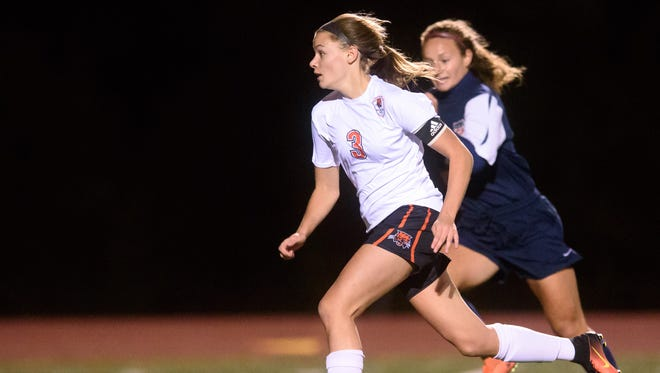 Northeastern girls' soccer player Brittany Arentz dribbles toward the net during a District 3 game last year against Conrad Weiser.