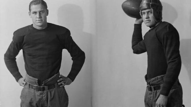 Future University of Missouri football coach Don Faurot in his uniform as a halfback on the 1924 Tiger team. This portrait from the Wesley Blackmore studio is now part of the Boone County History and Culture Center's online collection.
