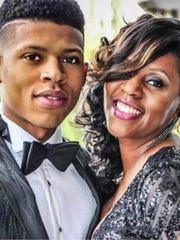 """Bryshere Y. Gray, who portrays Hakeem Lyon on the series """"Empire,"""" with his mother Andria Mayberry, who will be the keynote speaker Friday at the Mississippi Child Welfare Institute Conference in Jackson."""