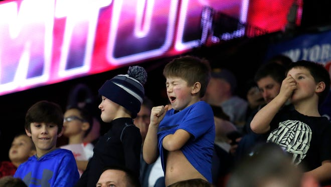 Fans crowded the Floyd L. Maines Memorial Arena as the Binghamton Devils hosted the Toronto Marlies on Saturday, January 20, 2018.