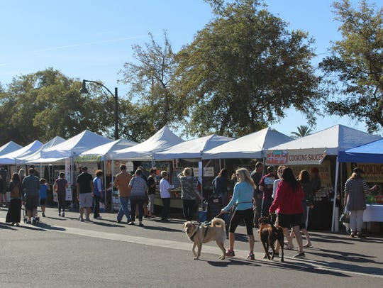 A row of vendors at the Gilbert Farmers Market.
