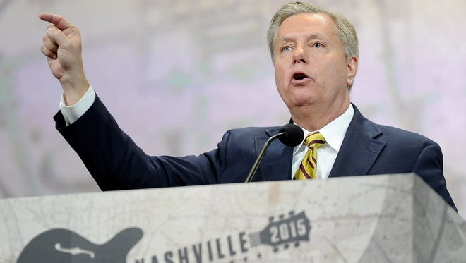 Sen. Lindsey Graham, R-S.C., speaks at the NRA-ILA Leadership Forum during the National Rifle Association Convention at Music City Center in Nashville on April 10, 2015.
