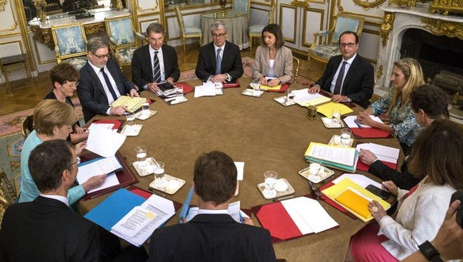 European leaders discuss Greece on July 6, 2015, in Paris.