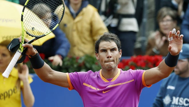 Rafael Nadal celebrates winning against Kevin Anderson during their match on Thursday.