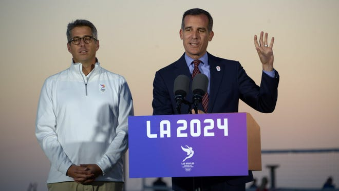 Los Angeles mayor Eric Garcetti and LA 2024 bid chairman Casey Wasserman speak about the 2024 Los Angeles Olympic Games bid at press conference at the Annenbuerg Community Beach House at Santa Monica State Beach.