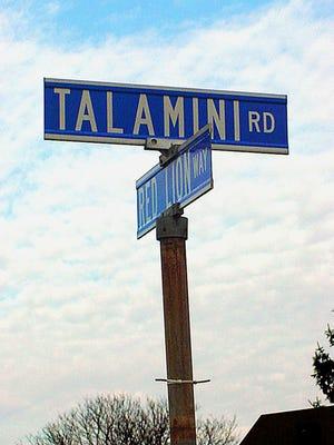 The sign marking Talamini Road in Bridgewater.