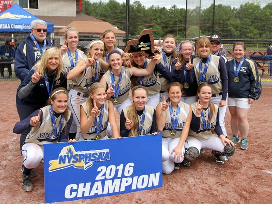 The Notre Dame softball team poses with its championship