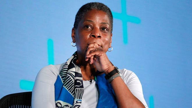 Ursula Burns, chairwoman and CEO of Xerox Corp., speaks at The New York Times New Work Summit on March 1, 2016 in Half Moon Bay, Calif. The company announced Friday, May 20, 2016, that when Xerox splits, Burns will no longer be CEO. She will remain chair of the document technology company.