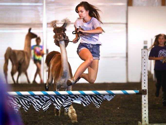 Lexi Lee, 15, Fishers, jumps with her llama Champaign during the leaping llamas show in the Llama Barn at the Hamilton County 4-H Fair on Friday, July 18, 2014.