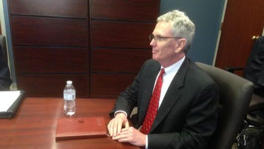 This file photo from fall 2015 shows Craig Tindall sitting for an interview with the Murfreesboro Council to be city attorney. He accepted an offer from the council to replace former City Attorney Susan McGannon, who retired Nov. 1, 2015. The council has made an offer to promote Tindall to be the next city manager.
