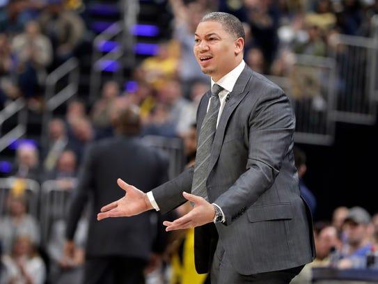 Cleveland Cavaliers head coach Tyronn Lue reacts on