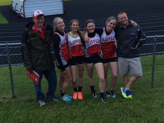 Sturgeon Bay's Allison Alberts, second from left, poses