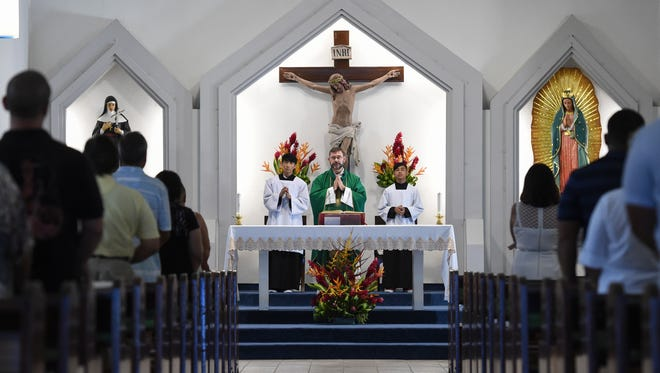 A Prayer for Peace Mass was held at Our Lady of Guadalupe Church in Santa Rita on Aug. 13, 2017.
