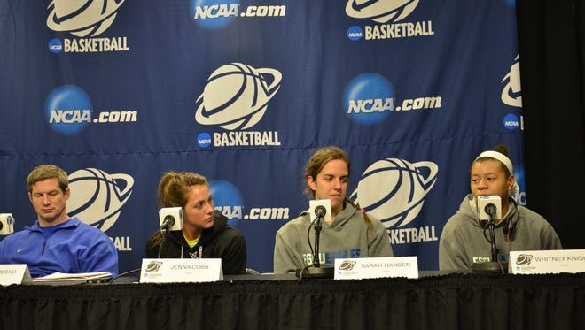 The FGCU women's basketball team meets the media Friday in West Lafayette, Ind.