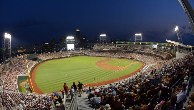 Jun 25, 2013; Omaha, NE, USA; General view of TD Ameritrade Park during the sixth inning in game 2 of the College World Series finals between the UCLA Bruins and the Mississippi State Bulldogs.