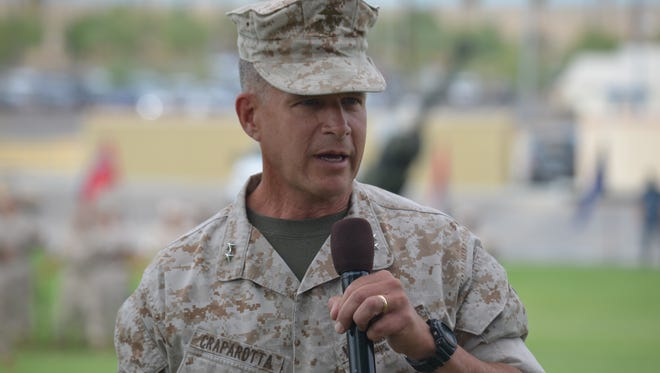 Maj. Gen. Lewis A. Craparotta speaks during change of command ceremony on Thursday, July 10, 2014 at Marine Corps Air Ground Combat Center in Twentynine Palms.