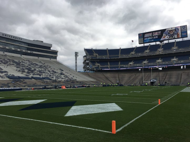 Overcast skies greeted fans and players at Beaver Stadium