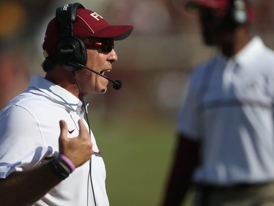 FSU Head Coach Jimbo Fisher yells from the sidelines