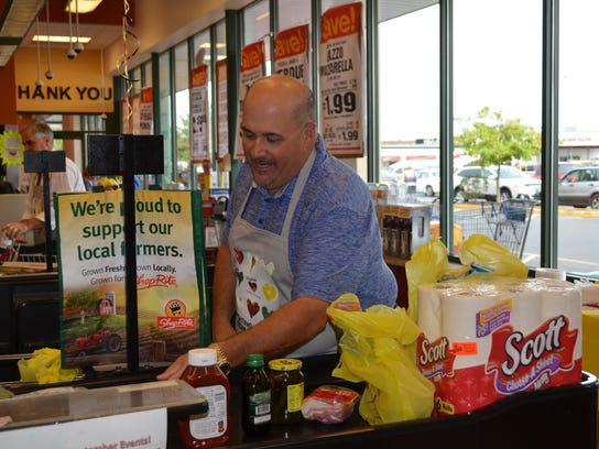 Hammonton Town Councilman Mickey Pullia bagged groceries
