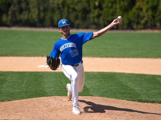 Jayvien Sandridge pitches for Mercersburg Academy during a baseball game against Hill School on Wednesday, April 12, 2017 at Mercersburg Academy. The Blue Storm defeated Hill School 3-2 in eight innings during the first game of a doubleheader.