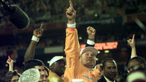 Tennessee's head coach Phil Fulmer celebrates on stage