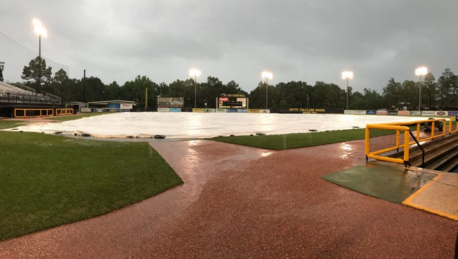 A record rainfall forced Mississippi State and Southern Miss to reschedule games to Sunday.