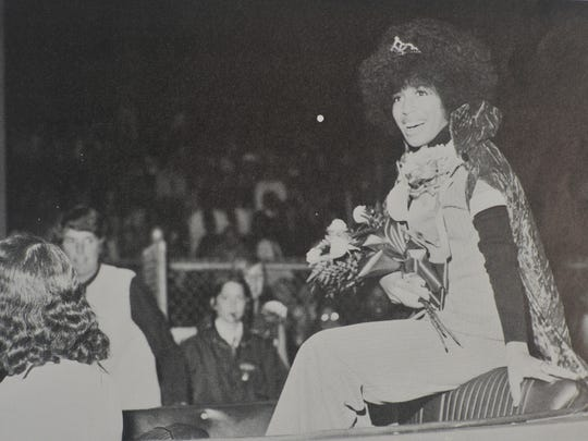 The first homecoming queen of Astronaut High, Pam Dunlop, after the crowning in 1972.