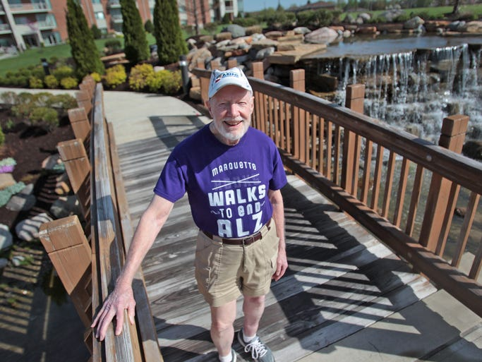 Bill Stanley, 87, poses for a photo at Marquette Manor. He is the oldest person who will be running in the OneAmerica 500 Festival Mini-Marathon Saturday, May 3.