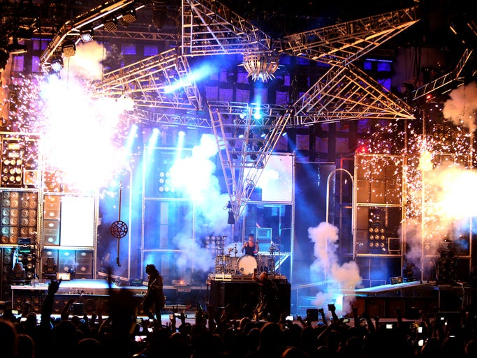 Motley Crue performs at Klipsch Music Center in Noblesville, Ind., on Saturday, July 5, 2014.