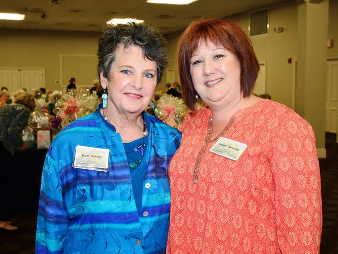 Jean Norman and Jessie Drossos at the April Showers Bring May Flowers fashion show hosted by the Newcomers Club of Greater Pensacola.